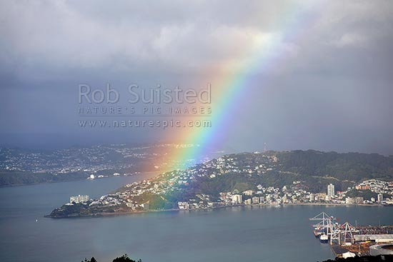 Large rainbow over Oriental Bay, Mount (Mt) Victoria and Wellington Harbour, Wellington, Wellington City District, Wellington Region, New Zealand (NZ) stock photo.