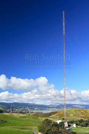 Landmark 137 metre high radio mast at Whitireia Park, Titahi Bay, Titahi Bay, Porirua City District, Wellington Region, New Zealand (NZ) stock photo.