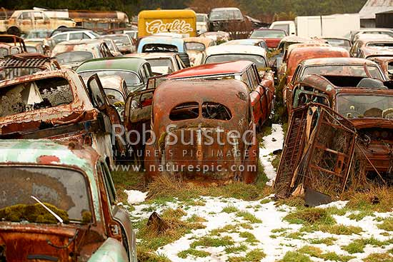 Old cars, trucks and vehicle bodies at the famous 'Smash Palace' wreckers and car museum, Horopito Motors, Horopito, Ruapehu District, Manawatu-Wanganui Region, New Zealand (NZ) stock photo.