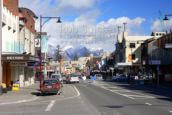 Shotover Street (State Highway 6A), the main street of Queenstown, Queenstown, Queenstown Lakes District, Otago Region, New Zealand (NZ) stock photo.