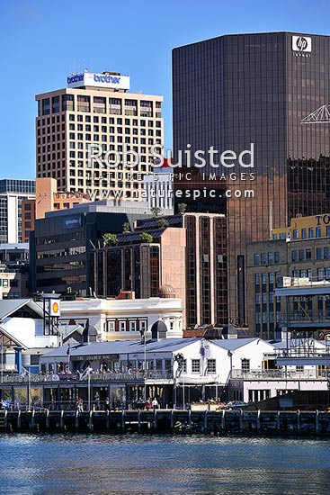 Wellington Central business district (CBD) and waterfront, Wellington, Wellington City District, Wellington Region, New Zealand (NZ) stock photo.