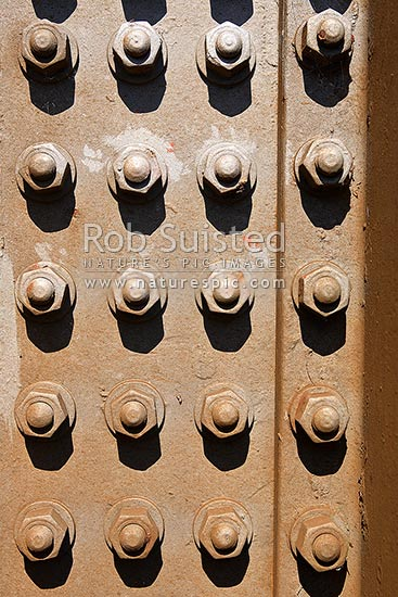 Pattern of large steel bolts washers and nuts, New Zealand (NZ
