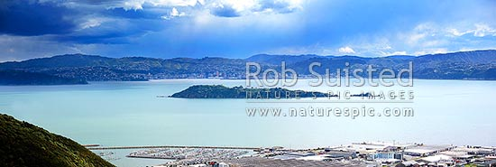 Southerly front looming over Wellington City and Matiu / Somes Island from the Wainuiomata Hill. Seaview Marina below. Large panorama, Wellington, Hutt City District, Wellington Region, New Zealand (NZ) stock photo.