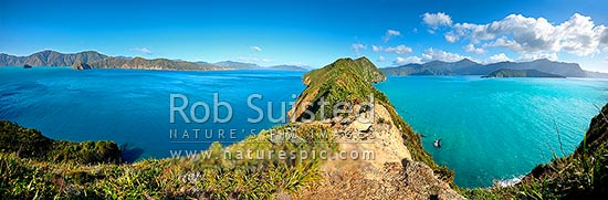 Giant Panorama looking south along Long Island (Kokomohua) down Queen Charlotte Sound. Arapawa Is (L) Motuara Is (R), Marlborough Sounds, Marlborough District, Marlborough Region, New Zealand (NZ) stock photo.