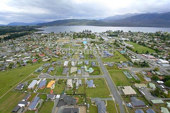 Aerial View Of Te Anau Township Southen Lake Te Anau And