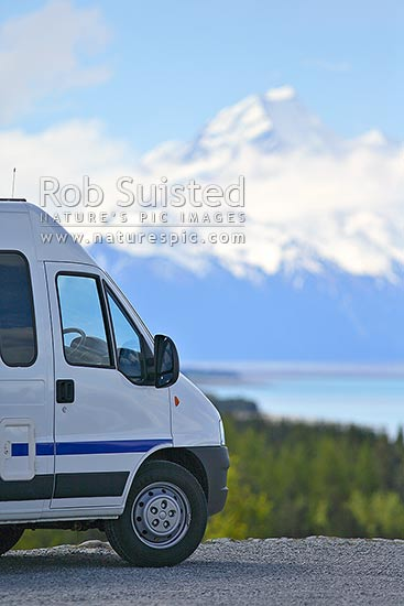 Tourist campervan recreational vehicle, stopped near Aoraki / Mount Cook and Lake Pukaki. Southern Alps, Aoraki/Mount Cook National Park, MacKenzie District, Canterbury Region, New Zealand (NZ).