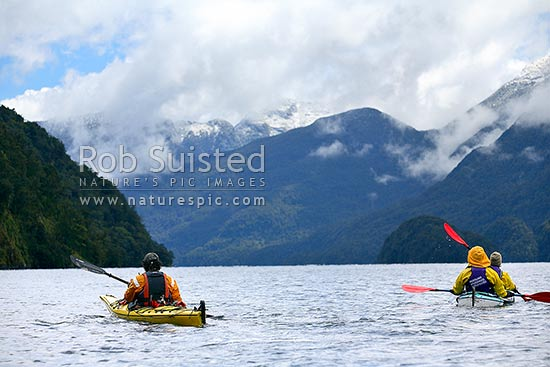 Wilderness sea kayaking trip in Doubtful Sd, Fiordland National Park, Doubtful Sound, Fiordland, Southland District, Southland Region, New Zealand (NZ) stock photo.
