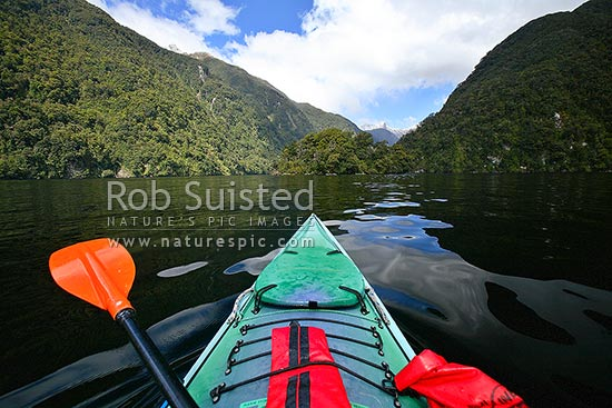 Wilderness sea kayaking trip in Doubtful Sound, Fiordland National Park, Doubtful Sound, Fiordland, Southland District, Southland Region, New Zealand (NZ) stock photo.