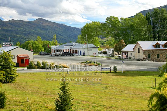 The small town of Garston on Garston-Athol State Highway 6, Garston, Southland District, Southland Region, New Zealand (NZ) stock photo.