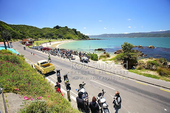 Scooter and motorbike riders at Chocolate Fish Café at Scorching Bay beach, Wellington ...