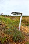 'Overseas' signpost near beach