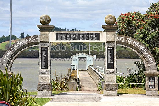 Hokianga Arch of Remembrance, war memorial, Kohukohu, Hokianga, Far North District, Northland Region, New Zealand (NZ) stock photo.