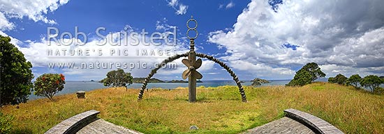 Memorial sculpture for the Rainbow Warrior ship (by Chris Booth), above Matauri Bay, Motukawanui and Cavalli Islands and Passage. Panoramic view, Matauri Bay, Far North District, Northland Region, New Zealand (NZ) stock photo.