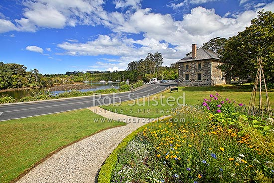 Historic Stone Store (1832) on the Kerikeri Inlet Basin - oldest stone building in New Zealand, Kerikeri, Far North District, Northland Region, New Zealand (NZ) stock photo.