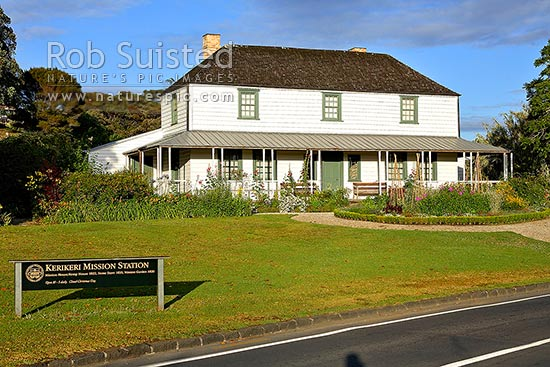 Historic Mission Station Kemp House (1821) - the oldest building in New Zealand, in Kerikeriki, Northland, Kerikeri, Far North District, Northland Region, New Zealand (NZ) stock photo.