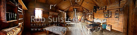 Panoramic view inside Ernest Shackleton's 1907-09 Nimrod Expedition Hut at Cape Royds, Ross Island, Ross Sea, McMurdo Sound, Antarctica stock photo.