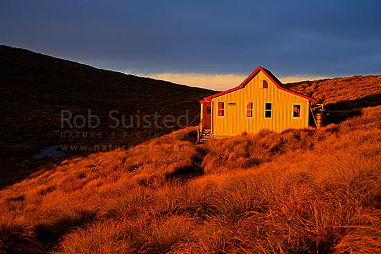 Kime hut at sunrise on the Southern Main Range of the Tararuas, and Southern Crossing tramping route, Tararua Forest Park, Kapiti Coast District, Wellington Region, New Zealand (NZ) stock photo.