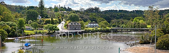 Historic Stone Store (1832) and Mission Station Kemp House (1821) beside the Kerikeri Inlet Basin and River. Panoramic view, Kerikeri, Far North District, Northland Region, New Zealand (NZ) stock photo.