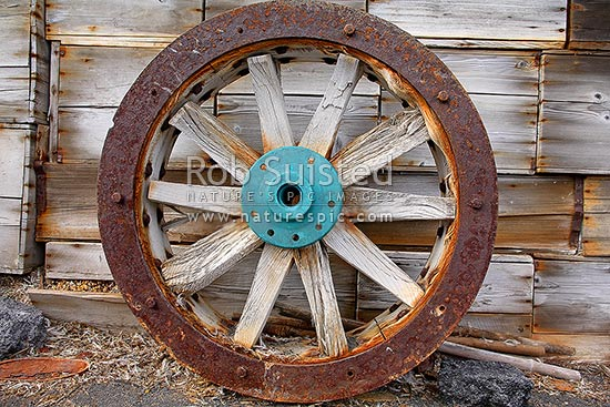 Only remaining wheel rim from the Arrol-Johnston motor car outside Shackleton's British Antarctic (Nimrod 1907-09) Expedition hut. First car in Antarctica, Cape Royds, Ross Island, Antarctica stock photo.