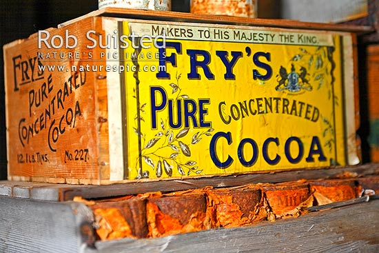 Case of Fry's Pure Concentrated Cocoa in galley area of Captain Robert Falcon Scott's 1910-12 Terra Nova Expedition Hut, Cape Evans, Cape Evans, Ross Island, McMurdo Sound, Antarctica Region, Antarctica stock photo.