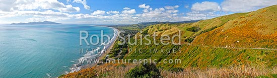 Panorama over Paraparaumu, Kapiti Coast and Kapiti Island, from above Paekakariki, Paekakariki, Kapiti Coast District, Wellington Region, New Zealand (NZ) stock photo.