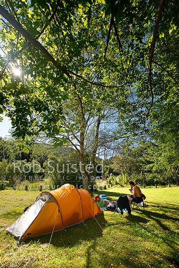 A couple summer tent camping under trees in DOC campsite at Waikawa River, Manakau, Horowhenua District, Manawatu-Wanganui Region, New Zealand (NZ) stock photo.