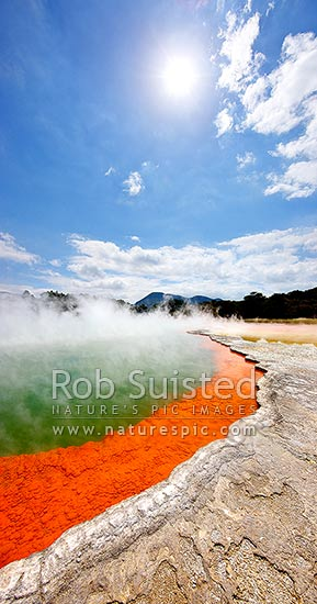 The famous coloured boiling steaming hot spring 'Champagne Pool' and sintered terrace, Waiotapu Geothermal Area. Wai-o-tapu, Rotorua, Rotorua District, Bay of Plenty Region, New Zealand (NZ) stock photo.