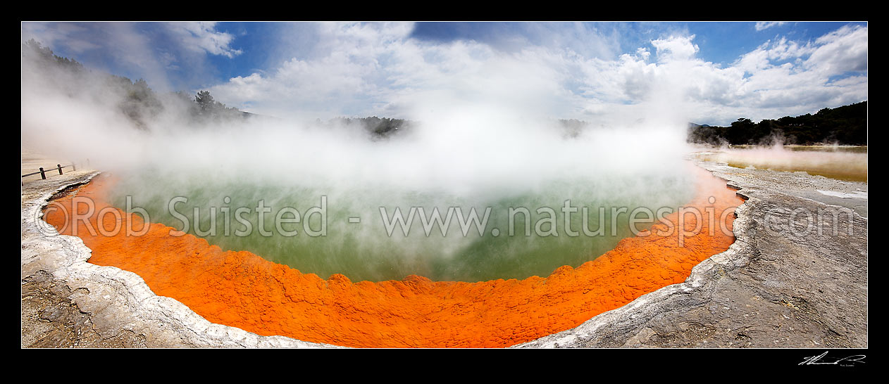 Image of Panorama of the famous coloured hotspring 'Champagne Pool' and sintered terrace, Waiotapu Geothermal Area. Wai-o-tapu, Rotorua, Rotorua District, Bay of Plenty Region, New Zealand (NZ) stock photo image
