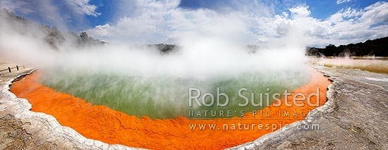 Panorama of the famous coloured hotspring 'Champagne Pool' and sintered terrace, Waiotapu Geothermal Area. Wai-o-tapu, Rotorua, Rotorua District, Bay of Plenty Region, New Zealand (NZ) stock photo.
