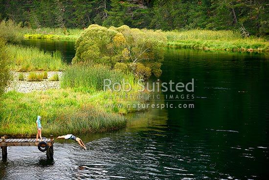 People enjoying swimming, jumping and diving from jetty on the Waikato River. Summertime, Mihi, Rotorua, Rotorua District, Bay of Plenty Region, New Zealand (NZ) stock photo.