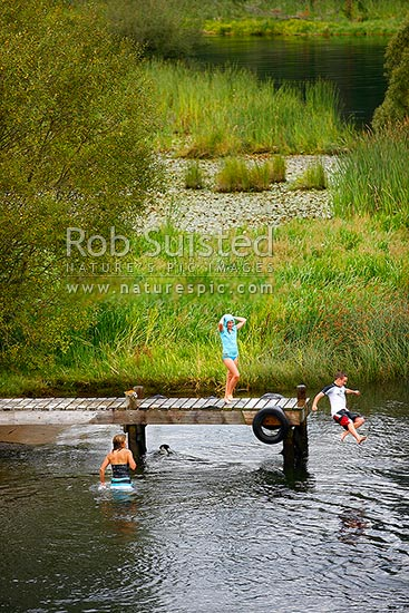 Family enjoying swimming, jumping and diving from jetty on the Waikato River. Bomb jump. Summertime, Mihi, Rotorua, Rotorua District, Bay of Plenty Region, New Zealand (NZ) stock photo.