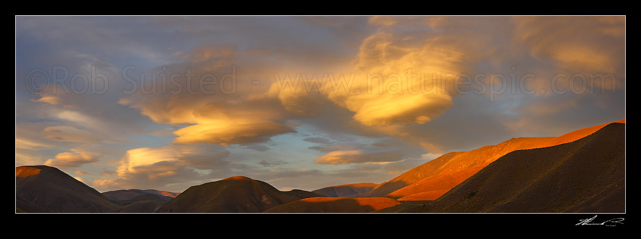 Image of Lenticular clouds gathering in evening sunset over Lindis Pass and the Dunstan Range, signalling coming bad weather and winds. Panorama, Lindis Pass, MacKenzie District, Canterbury Region, New Zealand (NZ) stock photo image