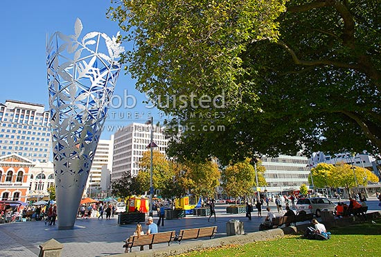 Christchurch Cathedral with Neil Dawson Chalice sculpture, Christchurch, Christchurch City District, Canterbury Region, New Zealand (NZ) stock photo.
