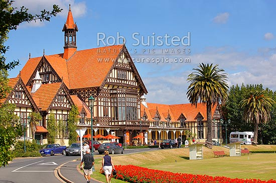 Tudor Bath house, Historic Government House and gardens (now Rotorua Museum), Rotorua, Rotorua District, Bay of Plenty Region, New Zealand (NZ) stock photo.