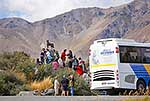 Tour bus with tourists at Tekapo