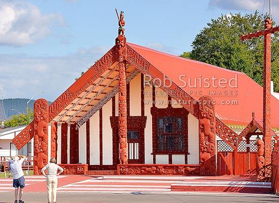 Visitors Photographing The Wharenui Or Maori Meeting House
