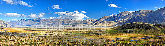 Looking across Rangitata River from Mt Potts to Mesopotamia Station. Ben McLeod Range left, Sinclair Range centre left, Mt Sunday left, Mt Potts, Ashburton District, Canterbury Region, New Zealand (NZ) stock photo.