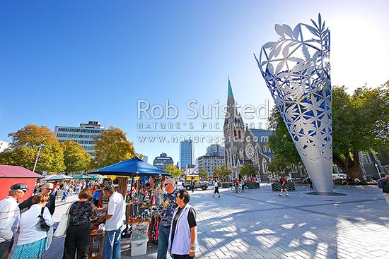 Christchurch News Photo: Christchurch Cathedral With Neil Dawson Chalice Sculpture