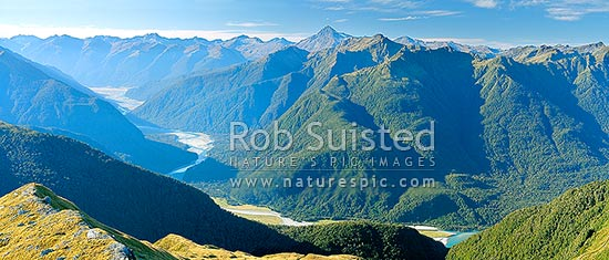 Haast River Valley from the Thomas Range. Mount Brewster (2515m) centre, with Midnight Ridge foreground, Roaring Billy left. Southern Alps distant, Haast, Westland District, West Coast Region, New Zealand (NZ) stock photo.