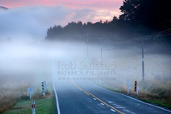 Early morning mists drifting across the road as cool air flows downhill. Powerlines. Driving hazard, St Arnaud, Tasman District, Tasman Region, New Zealand (NZ) stock photo.
