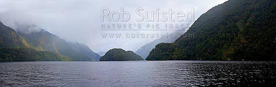 Doubtul Sound and Elizabeth Island. Fiordland National Park panorama, Doubtful Sound, Fiordland, Southland District, Southland Region, New Zealand (NZ) stock photo.