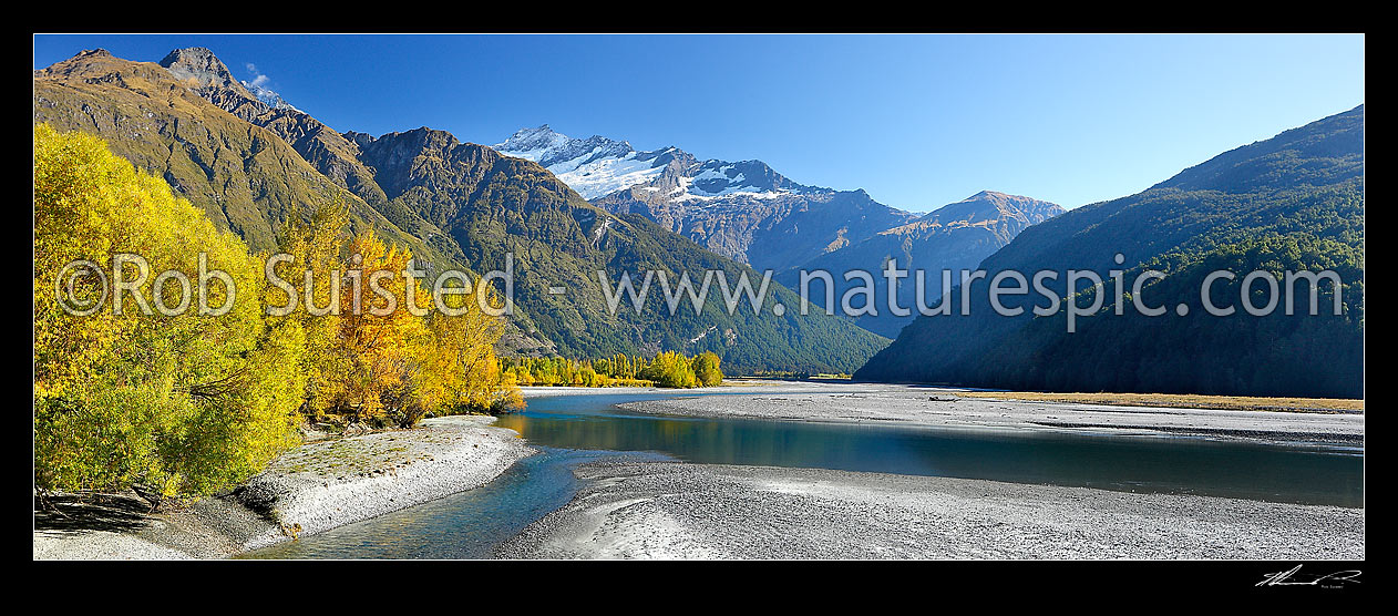 Image of Looking up Matukituki River East Branch, flowing under Mt Avalanche (2606m), and past Cameron Flat, with autumn coloured trees. Panorama, Mount Aspiring National Park, Queenstown Lakes District, Otago Region, New Zealand (NZ) stock photo image