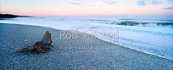 Gillespies Beach on the wild South Westland coast. Panorama of waves, driftwood and shingle pebble beach early morning light before sun up, Gillespies Beach, Westland District, West Coast Region, New Zealand (NZ) stock photo.