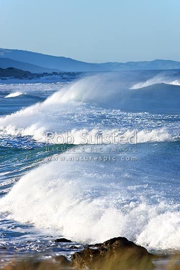 Surf Waves And Sea Running Into The Wairarapa Coast