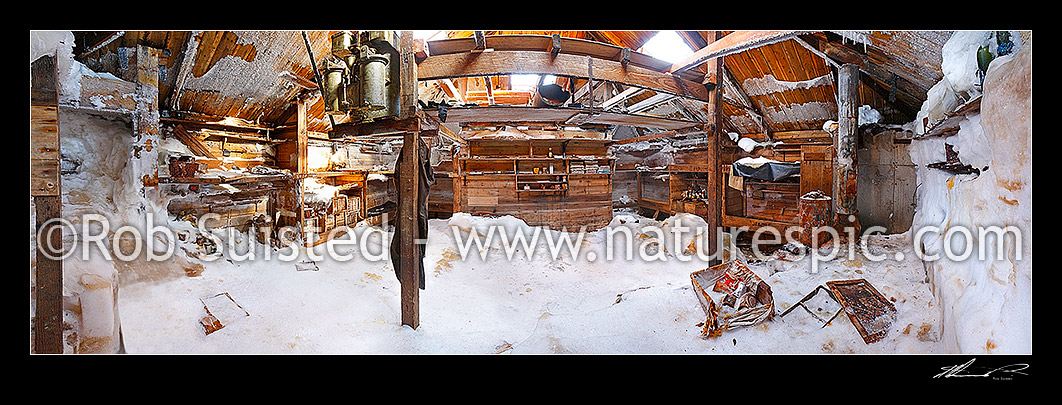 Image of Mawson's Hut interior panorama. Australian Sir Douglas Mawson's Hut main room (1912-1914). Acetyline generator left top, Frank Hurley's bunk and darkroom at right. Cape Denison. Panorama taken from door, Commonwealth Bay, Antarctica stock photo image