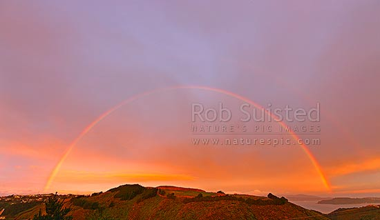 Double rainbow over wellington harbour. Full arc, Wellington, Wellington City District, Wellington Region, New Zealand (NZ) stock photo.