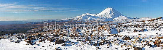 Mount Ngauruhoe (2287m), distinctive volcanic cone in Tongariro National Park with Mt Tongariro (1967m) to left, panorama seen from Whakapapa in winter snow, Tongariro National Park, Ruapehu District, Manawatu-Wanganui Region, New Zealand (NZ) stock photo.