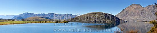 Lake Wanaka autumn panorama. Perfectly calm and still waters in Glendhu and Paddock Bays. Roys Peak (1587m) right, Wanaka, Queenstown Lakes District, Otago Region, New Zealand (NZ) stock photo.