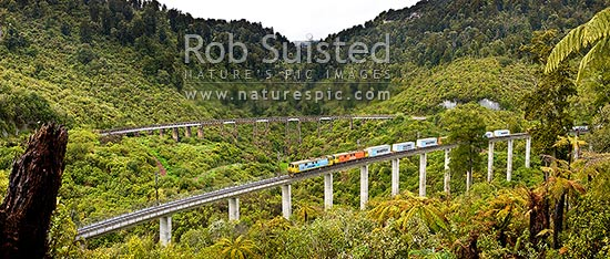 Hapuawhenua Viaducts, historic and modern, with Electric frieght train crossing heading north. North Island Main Trunk Railway Line (NIMT), Ohakune, Ruapehu District, Manawatu-Wanganui Region, New Zealand (NZ) stock photo.