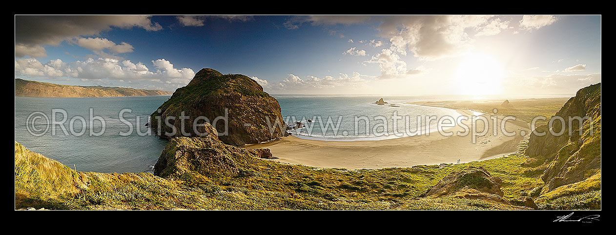 Image of Whatipu Beach, West Auckland coast, with Manukau Harbour entrance, Wonga wonga Bay and Paratutae Island left, and Ninepin Rock centre right, Whatipu Beach, Waitakere City District, Auckland Region, New Zealand (NZ) stock photo image